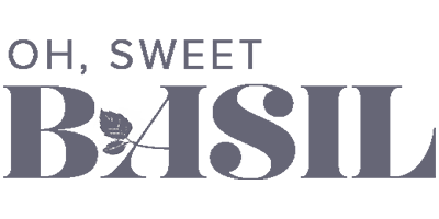 Greyscale logo for the Oh Sweet Basil blog, which uses Tasty Pins