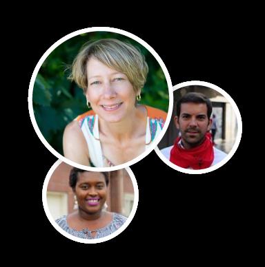 A collage of three testimonial avatars.