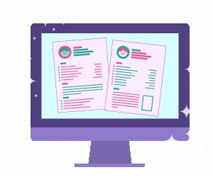 desktop computer icon with resume graphic