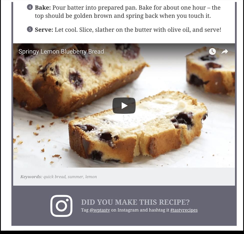 Recipe video showing inside the Tasty Recipes plugin