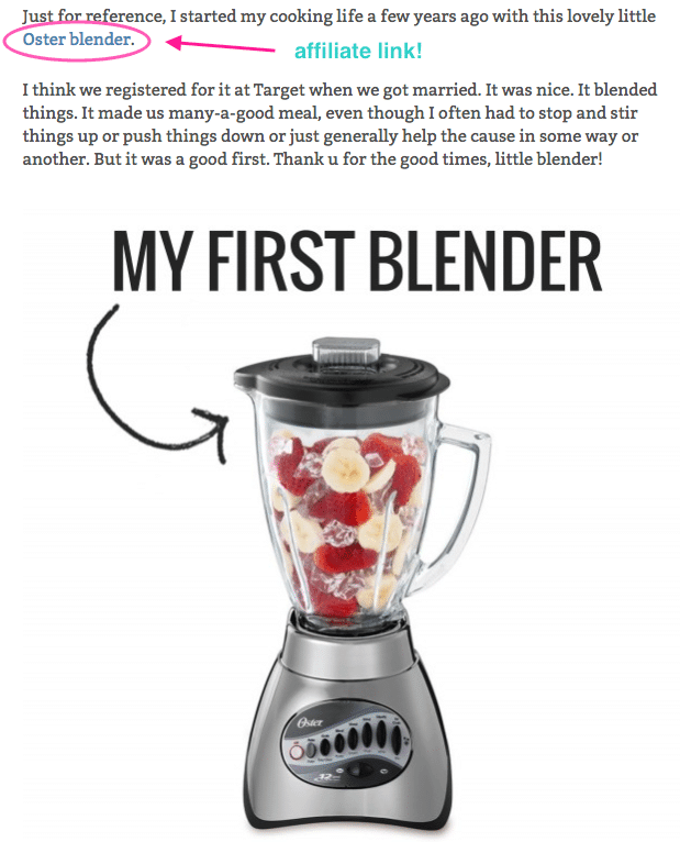 "A screenshot of an affiliate link in Pinch of Yum's post ""10 Simply Genius Ways to Use a Blender"""