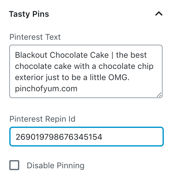 the Pinterest Repin ID field in the WordPress block sidebar in the editor
