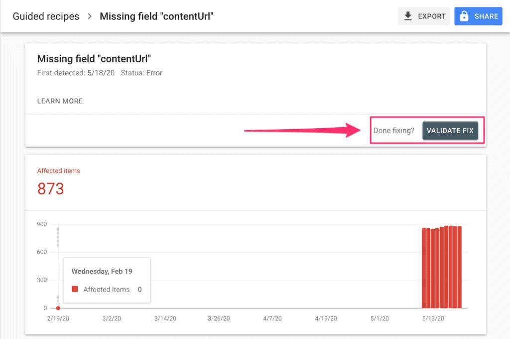 contentUrl error in Google Search Console