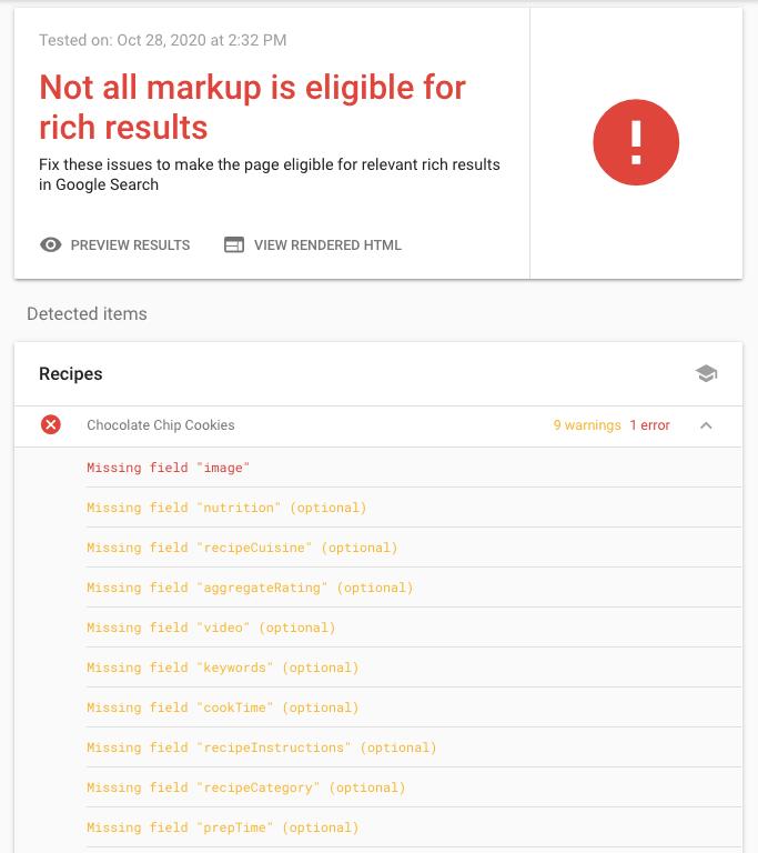 Screenshot of Rich Results test