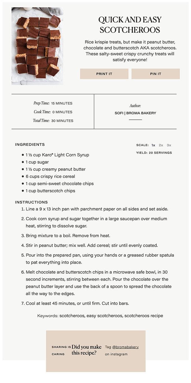 Screenshot of Broma Bakery recipe