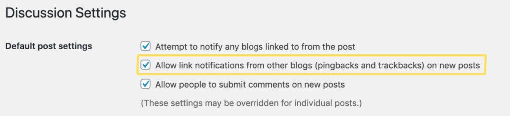 Pingbacks and trackbacks setting on WordPress website.